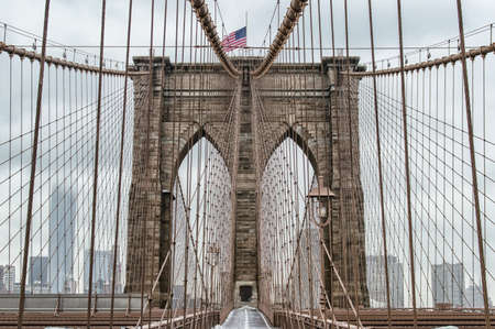 man made structure: The Brooklyn Bridge connects Manhattan to Brooklyn across the East River and was opened in 1883. Stock Photo