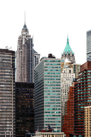 wall street bull: skyline of the financial district of lower Manhattan.