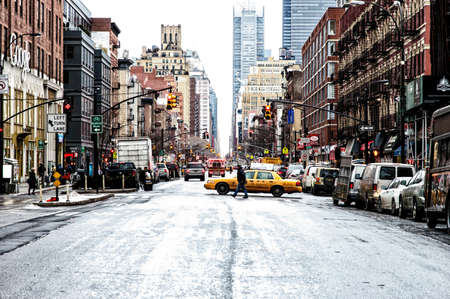 典型的なストリート シーン ニューヨーク、米国