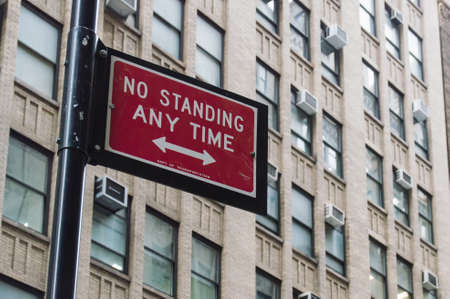 prohibitive: Prohibitive sign in New York City no standing anytime