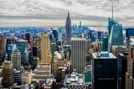 city people: Aerial view of New York City and Empire State Building. Editorial