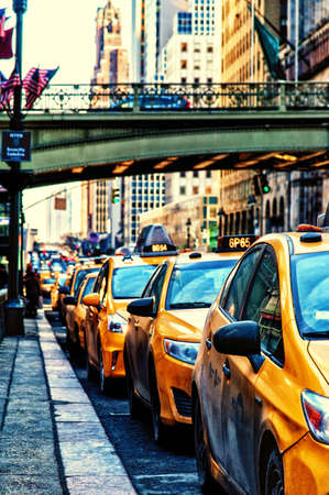 Taxi car are waiting in row Editorial