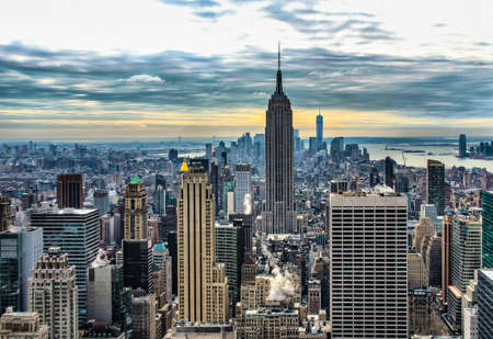 man made structure: HDR of Empire State building and manhattan panorama in NYC