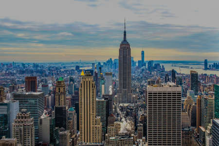 Aerial view of New York City and Empire State Building. Фото со стока