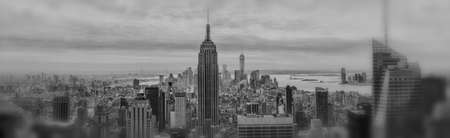Black and White aerial view of New York City and Empire State Building, defocussed at the edges photo