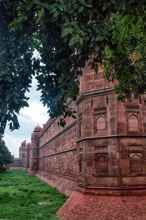 new delhi: The supreme example of the Mogul architecture , the wall of the famous RED FORT at New Delhi , India. Editorial