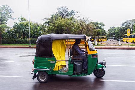 tuktuk: Tuk-tuk on the road in Delhi on March 03 01.2015 in India