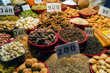 Dried fruits and seeds store at Old Delhi's spice market