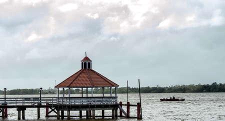 suriname: Gazebo in the Suriname River in Paramaribo.