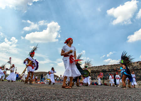 Traditional dance at Teotihuacan Pyramid of The Sun Mexico on Friday 20th 2015 Editöryel