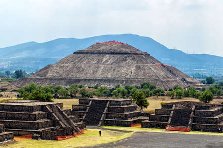 The ruins of Teotihuacan with in the background the temple of the sun, Mexico photo