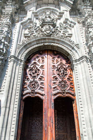 One of the entrances to the Metropolitan Cathedral in Mexico City, Mexico photo