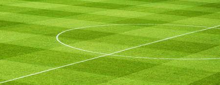 Green soccer field detail Foto de archivo