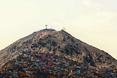 squatter: The slums of Lima situated on hill Saint Cristobal in Lima Stock Photo