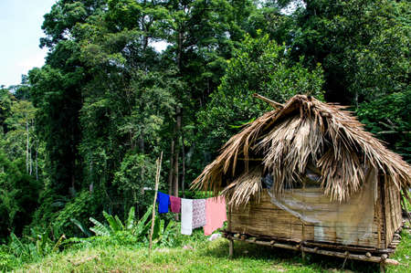 miserly: traditional small hut seen in Malaysia. Stock Photo