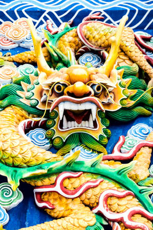 allegory painting: Typical auspicious dragon status in chinese temple that brings good luck. Location: Thean Hou Temple,Kuala Lumpur, Malaysia.