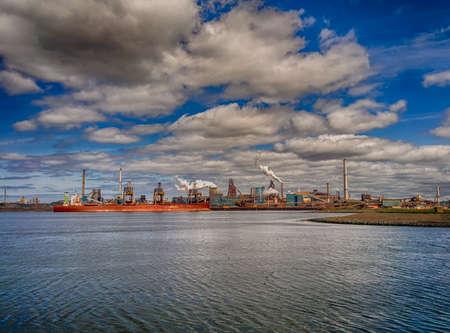 ijmuiden: factory of Tata steel in the dutch town of IJmuiden seen from noorzeekanaal
