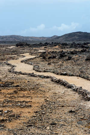 boka: arid landscape at Boca Tabla, Shete Boka National Park. Stock Photo