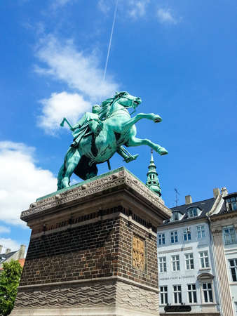 statesman: bronze equestrian statue of Danish archbishop and statesman Absalon (1902) by sculptor V. Bissen (1836-1913) and architect Martin Nyrop (1849-1921) on Højbro Square in Copenhagen; Copenhagen, Denmark Editorial
