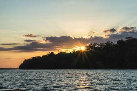 suriname: Sunset over the Suriname river,Suriname South America