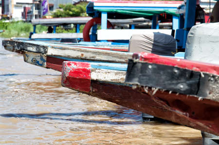 suriname: boats on the banks of the Suriname River in Suriname. Stock Photo