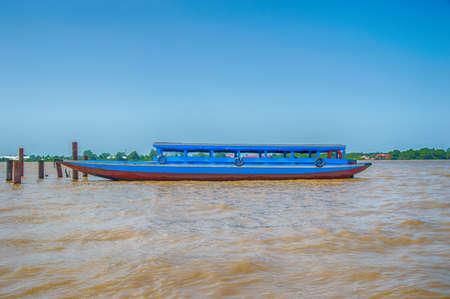 suriname: Blue boat on the Suriname River, Suriname, South America