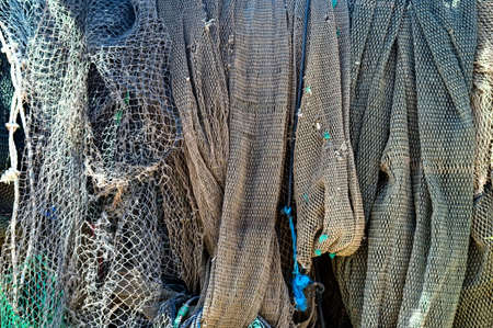fish net: Fish net drying in the sun Stock Photo