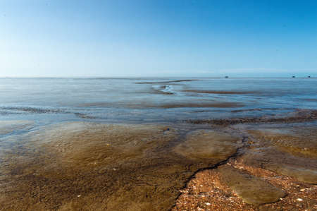 spring tide: Beautiful Mudflats at The Coast of Suriname, South America