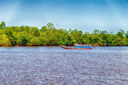 suriname: Boat on the Suriname River, Suriname, South America