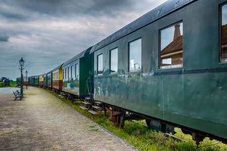 steam traction: Detail of old train wagons of the Steam Train between Medemblik and Hoorn, The Netherlands Editorial