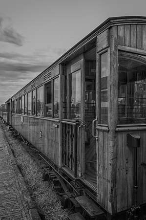 steam traction: Detail of old train wagons of the Steam Train between Medemblik and Hoorn, The Netherlands Stock Photo