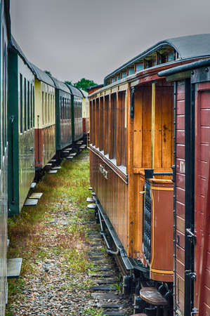 hoorn: Detail of old train wagons of the Steam Train between Medemblik and Hoorn, The Netherlands Stock Photo