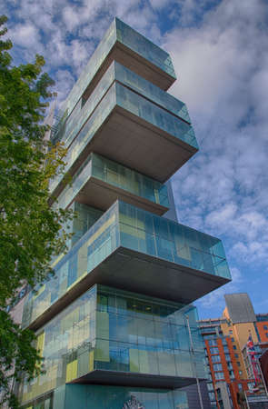 cutting edge: The new Civil Justice Centre in Manchester England.This huge complex is second only in size to the Royal Courts of Justice in London.The building boasts many cutting edge architectural features and innovations, including Europes largest glass atrium.