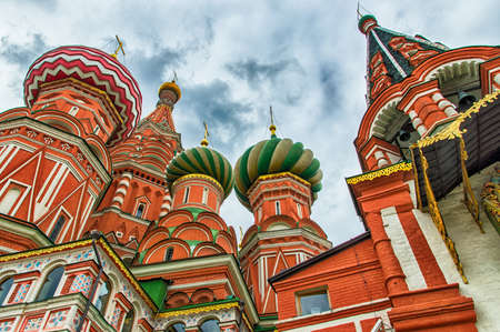 domes: Architechtural detail of domes in St. Basils Cathedral in Moscow Stock Photo