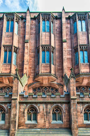 Manchester - city in North West England (UK). Detail of the Famous John Rylands Library.