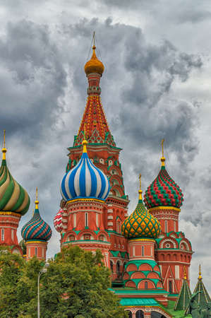 st basil s cathedral: Architechtural detail of domes in St. Basils Cathedral in Moscow Stock Photo