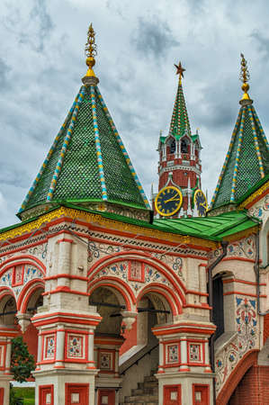 Architechtural detail of domes in St. Basils Cathedral in Moscow Stock Photo