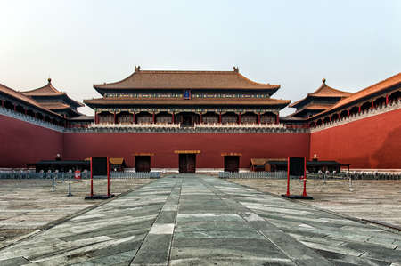 the meridian: The Meridian Gate. Forbidden City in Beijing, China. Editorial