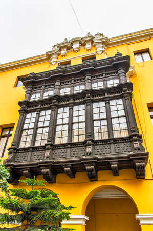lima: Wooden balconies at Lima, Peru Editorial