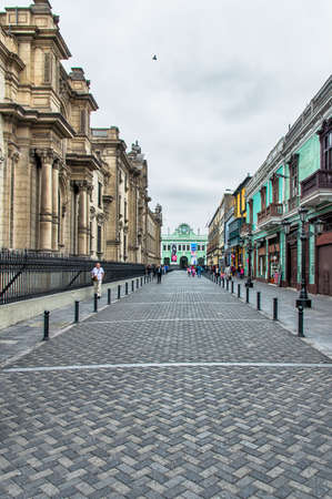 retail place: Colonial buildings at a street in downtown Lima, Peru.