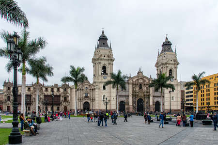 plaza of arms: LIMA PERU NOVEMBER 01: Cathedral at Plaza de Armas on november 01 2015 in Lima, Peru.Is the birthplace of the city of Lima, as well as the core of the city. Located in the Historic Centre of Lima. Editorial