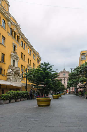 pizarro: Lima, Peru - November 01, 2015: Jiron de la Union; a pedestrian only street in the historic centre of Lima. The street is lined with old historic buildings and colonial architecture. The street dates back to 1535 when it was designed by Francisco Pizarro,
