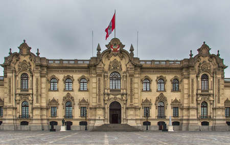 Lima, Peru: Government Palace , Residence of the President ,known as House of Pizarro in the Historic Centre of Lima, Unesco World Heritage Site,