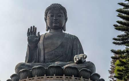 Tian Tan Buddha at Po Lin Monastery on Lantau Island in Hong Kong (China). Stock Photo