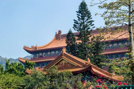 reincarnation: Roof Detail of the Po Lin Monastery at Lantau Island, Hong Kong China