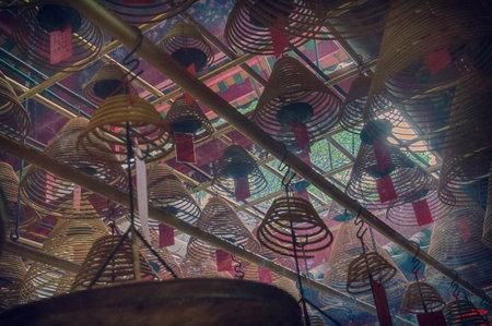 mococa: Incense Cones in Chinese Temple, Man Mo Temple, Hong Kong, China