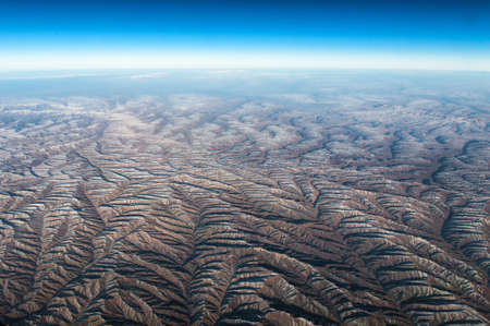 extreme terrain: Extreme terrain as seen from aircraft, over Sichuan Region China