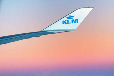 klm: AMSTERDAM, THE NETHERLANDS, 16 DECEMBER 2015 - Boeing airplane from Royal Dutch Airlines KLM in the sky Editorial