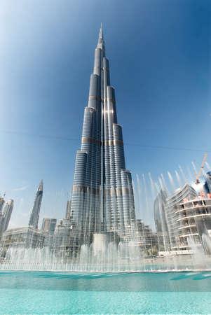 bur dubai: Dubai, United Arab Emirates - December  30, 2015: view of The Burj Khalifa or Burj Dubai. At 828 meters (2,717 feet), the Burj Khalifa, formerly known as the Burj Dubai, currently holds the record for tallest building and tallest human-built structure in