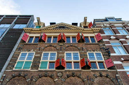 dutch culture: Facade of the beautiful canal houses of Amsterdam